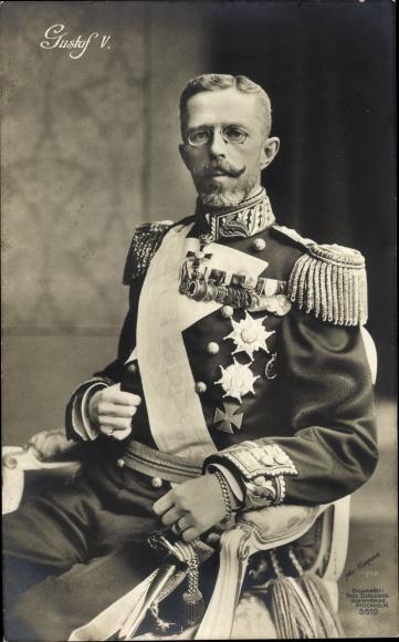 Ak König Gustav V. von Schweden, Portrait