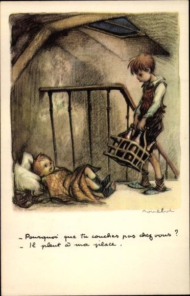 Künstler Ak Poulbot, Francisque, Pourquoi que tu couches pas chez vous