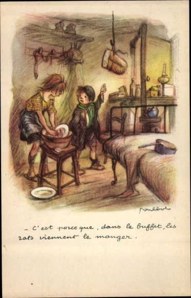 Künstler Ak Poulbot, Francisque, C'est parce que, dans le buffet, les rats viennent le manger