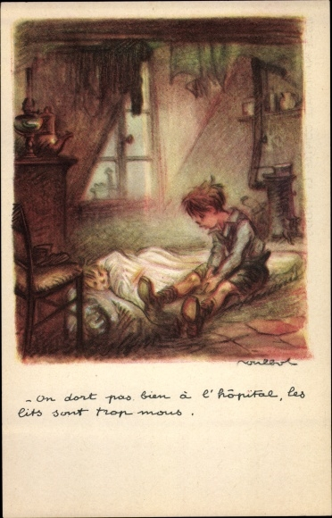 Künstler Ak Poulbot, Francisque, On dort pas, bien à l'hopital