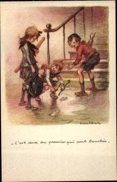 Künstler Ak Poulbot, Francisque, C'est ceux du premier qui sont bouchés