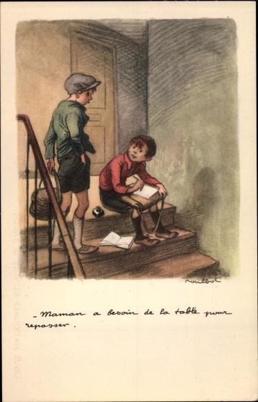 Künstler Ak Poulbot, Francisque Maman a besoin de la table pour repasser