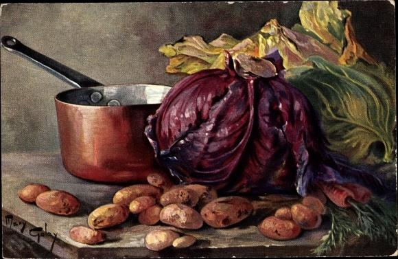 Künstler Ak Golay, Mary, Rotkraut, Kartoffeln, Salat, Bottich