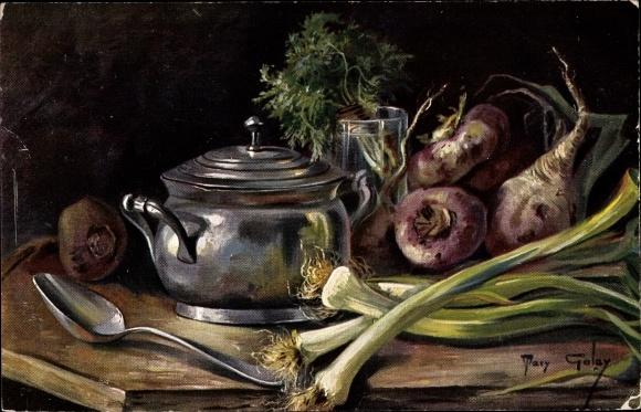 Künstler Ak Golay, Mary, Frühlingszwiebel, Rüben, Topf, Löffel