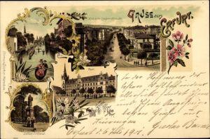 Litho Erfurt in Thüringen, Post, Luther Denkmal, Steigerstraße