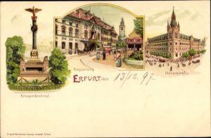 Litho Erfurt in Thüringen, Kriegerdenkmal, Regierung, Hauptpost