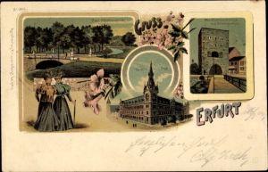 Litho Erfurt in Thüringen, Post, Neue Pförtchenbrücke, Alte Pförtchenbrücke