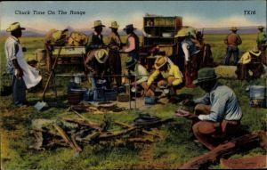 Ak USA, Chuck time on the range, Viehhirten beim Kochen, Lagerfeuer