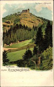 Litho Sobieszów Hermsdorf Kynast Riesengebirge Schlesien, Kynast vom Höllengrund aus