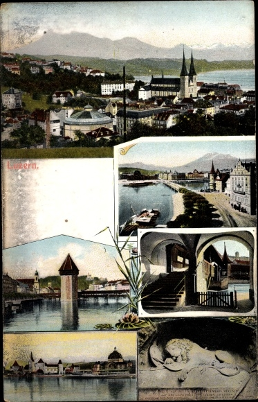 Ak Luzern Stadt Schweiz, Panorama vom Ort, Turm, Hafenpartie, Löwe