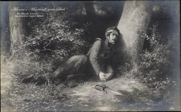 Künstler Ak Theodor Körner's Abschied vom Leben, Uniform, Schwert