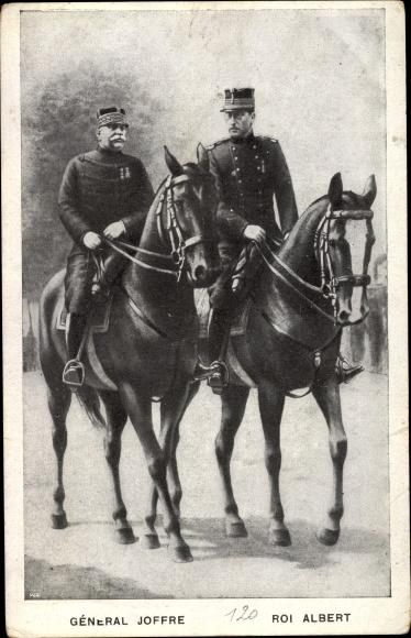 Ak König Albert I. von Belgien, General Joseph Joffre, Gespräch zu Pferd