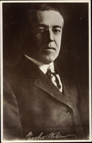 Ak US Präsident Thomas Woodrow Wilson, Portrait, aufgedrucktes Autogramm