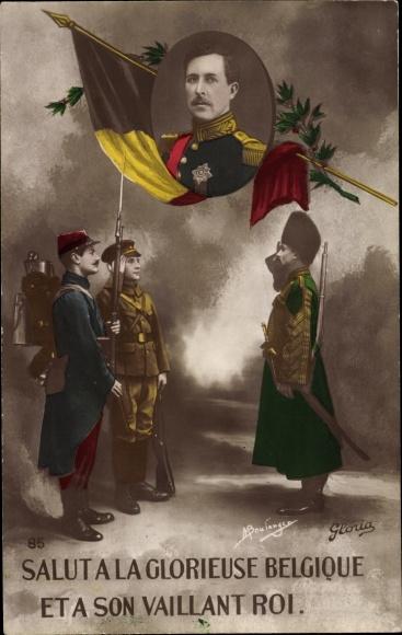 Ak König Albert I. von Belgien, Portrait, Salutieren belgischer und französischer Soldaten