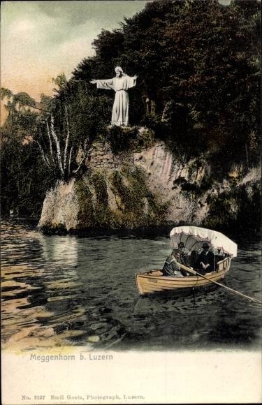 Ak Meggenhorn Kt. Luzern Schweiz, Ruderboot, Jesusstatue