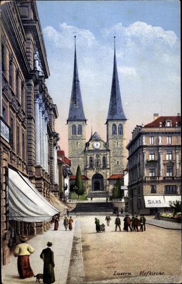 Ak Luzern Stadt Schweiz, Ansicht der Hofkirche