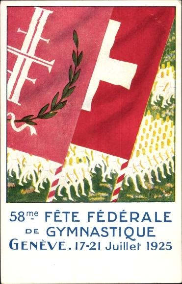 Künstler Ak Genève Genf Stadt, Fête Fédérale de Gymnastique, 1925, Fahne, Turnerbund