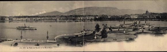 Klapp Ak Genève Genf Stadt, La Rade et le Mont Blanc