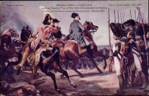 Künstler Ak Napoleon Bonaparte zu Pferd, Schlacht von Jena, 14. Oktober 1806, Infanterie