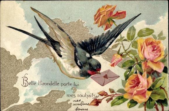 Präge Litho Schwalbe mit Brief, Rosen