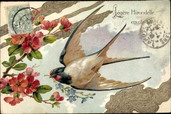 Präge Litho Schwalbe mit Vergissmeinnicht, Blüten