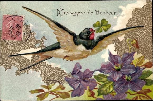 Präge Litho Schwalbe mit Klee, Blüten