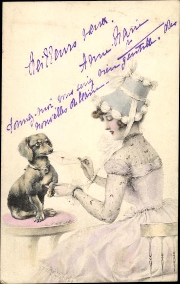Künstler Ak Dackel bringt einen Brief, Dame mit Hut