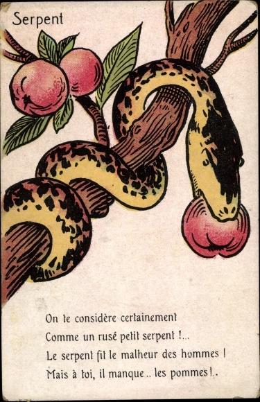 Künstler Ak Schlange mit rotem Apfel
