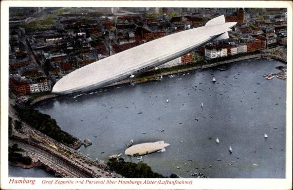 Ak Hamburg, LZ 127 Graf Zeppelin und Parseval über Hamburgs Alster, Luftaufnahme