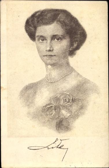 Künstler Ak Erzherzogin Zita von Bourbon Parma, Kaiserin von Österreich, Portrait