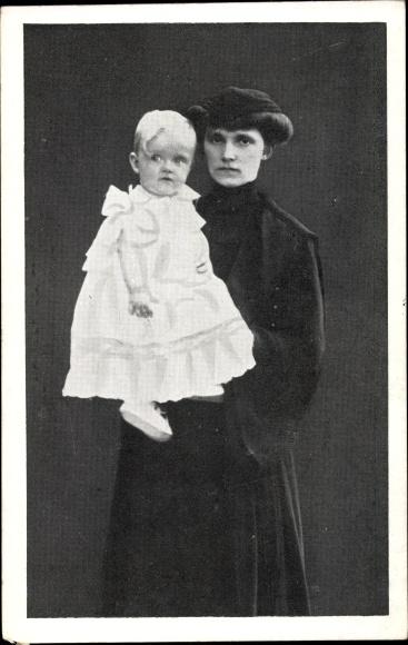 Ak Erzherzogin Zita von Bourbon Parma, Kaiserin von Österreich, Portrait mit Kind