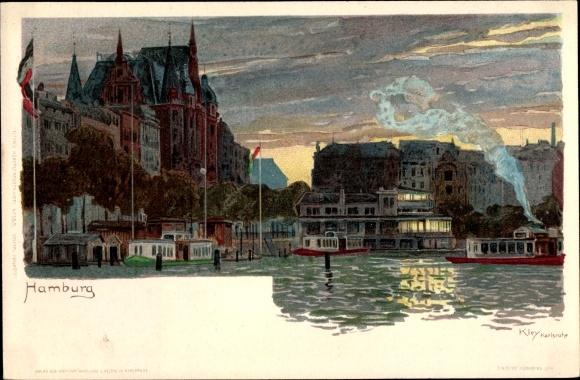 Künstler Litho Kley, Heinrich, Hamburg Altstadt, Partie am Wasser