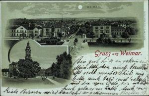 Mondschein Litho Weimar in Thüringen, Hotel Kaiserin Augusta, Schloss, Stadtpanorama