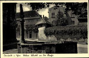 Ak Arnstadt im Ilm Kreis Thüringen, Stiller Winkel an der Kirche, Brunnen