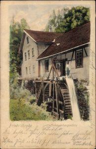 Ak Friedrichroda im Thüringer Wald, Blick auf die Schauenburg Mühle