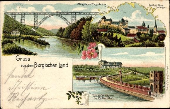 Litho Solingen in Nordrhein Westfalen, Müngstener Riesenbrücke, Schloss Burg, Eschbachtalsperre