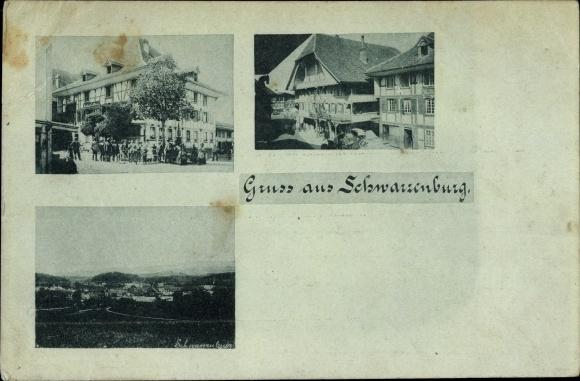 Ak Schwarzenburg Kt. Bern Schweiz, Gasthof zum Bären, Panorama vom Ort