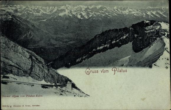 Ak Kt. Luzern Schweiz, Berner Alpen von Pilatus Kulm, Gebirge, Landschaftsblick