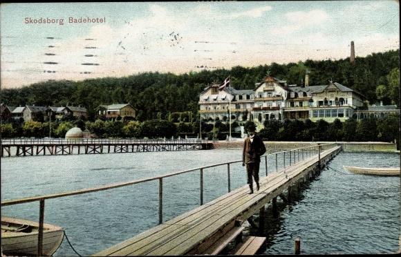 Ak Skodsborg Rudersdal Dänemark, Badehotel, Seebrücke