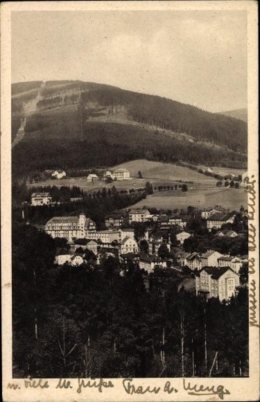 Ak Janské Lázně Johannisbad Reg. Königgrätz, Panoramaansicht von Ortschaft und Umgebung