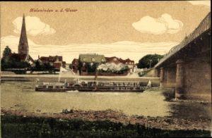 Ak Holzminden im Weserbergland, Blick vom Ufer, Fährschiff, Brücke, Ort