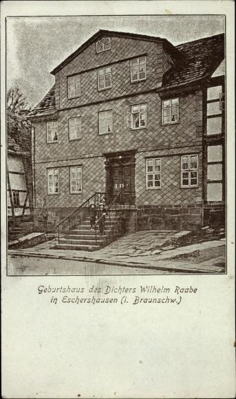 Mondschein Ak Eschershausen in Niedersachsen, Geburtshaus des Dichters Wilhelm Raabe