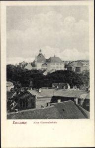 Ak Lutherstadt Eisleben in Sachsen Anhalt, Neue Oberrealschule, Blick über die Dächer der Stadt