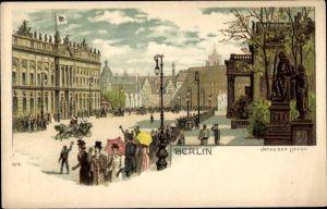Litho Berlin Mitte, Unter den Linden, Passanten grüßen eine Kutsche, Statuen