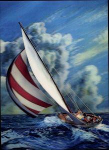 3-D Ak Segelboot, Yacht im Wind auf hoher See, segeln