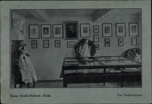 Ak Heide in Holstein, Innenansicht vom Klaus Groth Museum, Das Studierzimmer