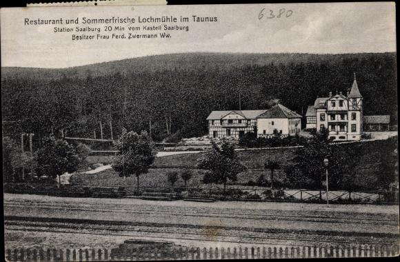 Ak Bad Homburg vor der Höhe, Blick auf Restaurant Lochmühle, Frau Ferd. Zwermann Ww.