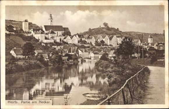 Ak Horb am Neckar im Kreis Freudenstadt, Wasserpartie am Neckar