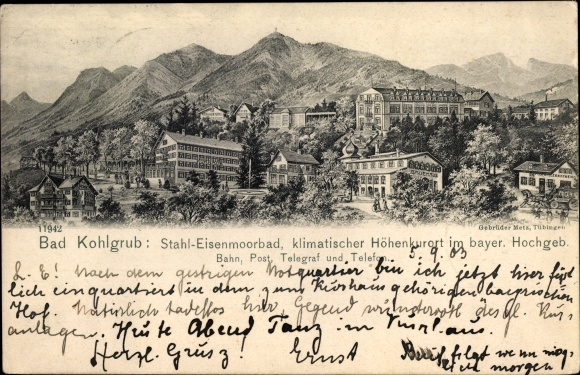 Ak Bad Kohlgrub im Kreis Garmisch Partenkirchen, Ansicht vom Badehaus und der Posttelegrafenstation