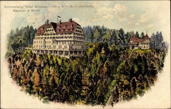 Künstler Ak Bad Wildbad Baden Württemberg, Sommerberg, Hotel Wildbad, Inh. Baetzner und Wentz